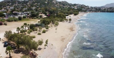 A deserted and wooded beach in Attica