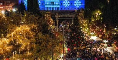 Athens:  the lighting of the Christmas tree