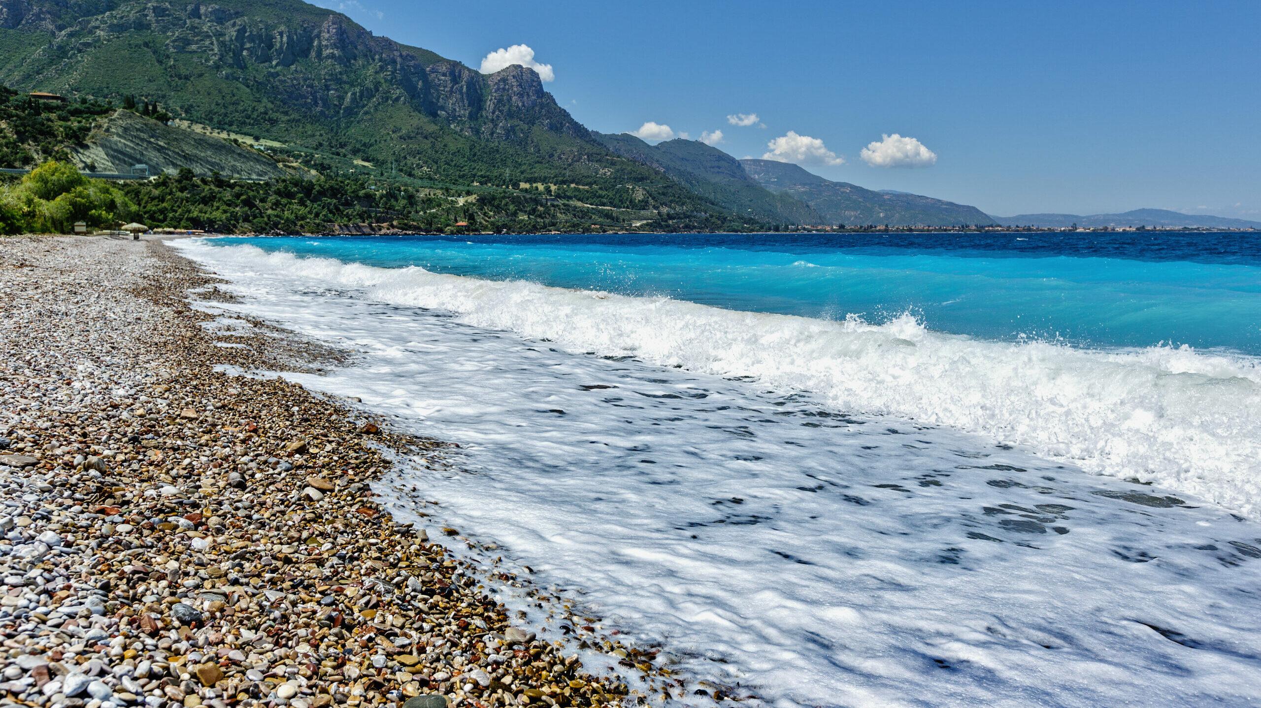 Diakopto beach:  a gem on the Corinthian Gulf
