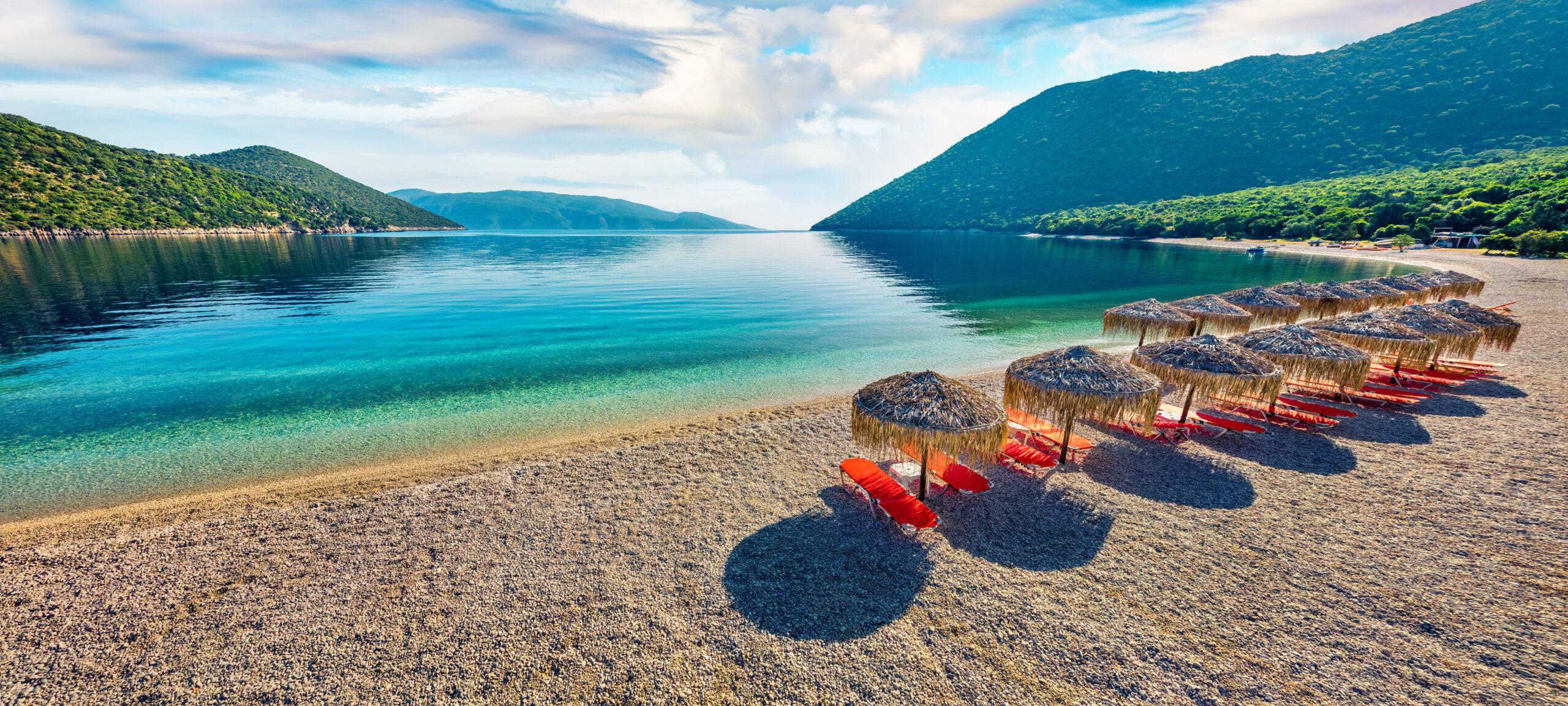 Mirror-like crystalline water at Antisamos beach