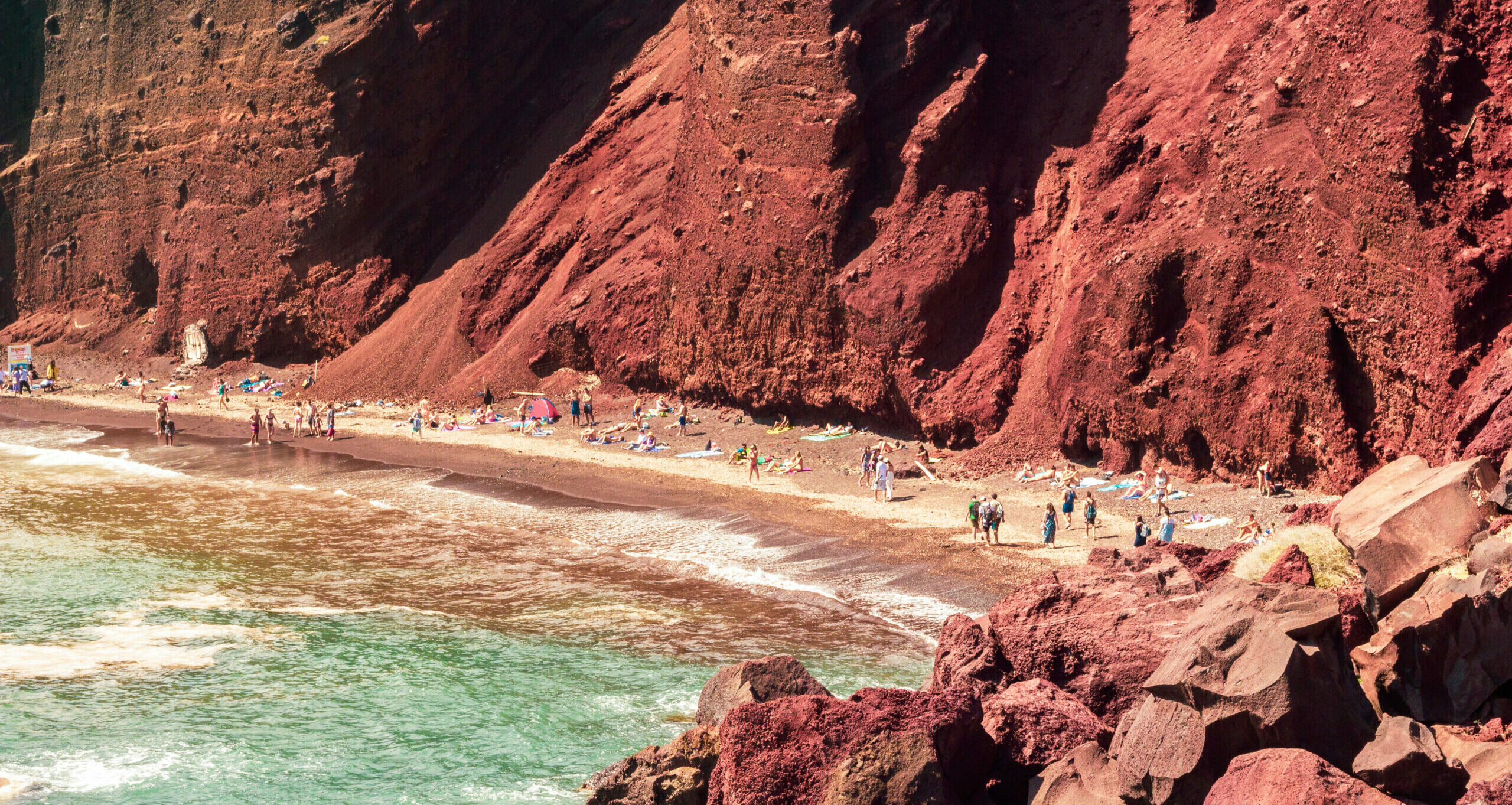 Red Beach: What it's like to swim on the edge of a volcano