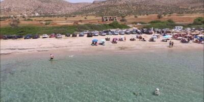 The spread out beaches with the shallow waters, in Attica
